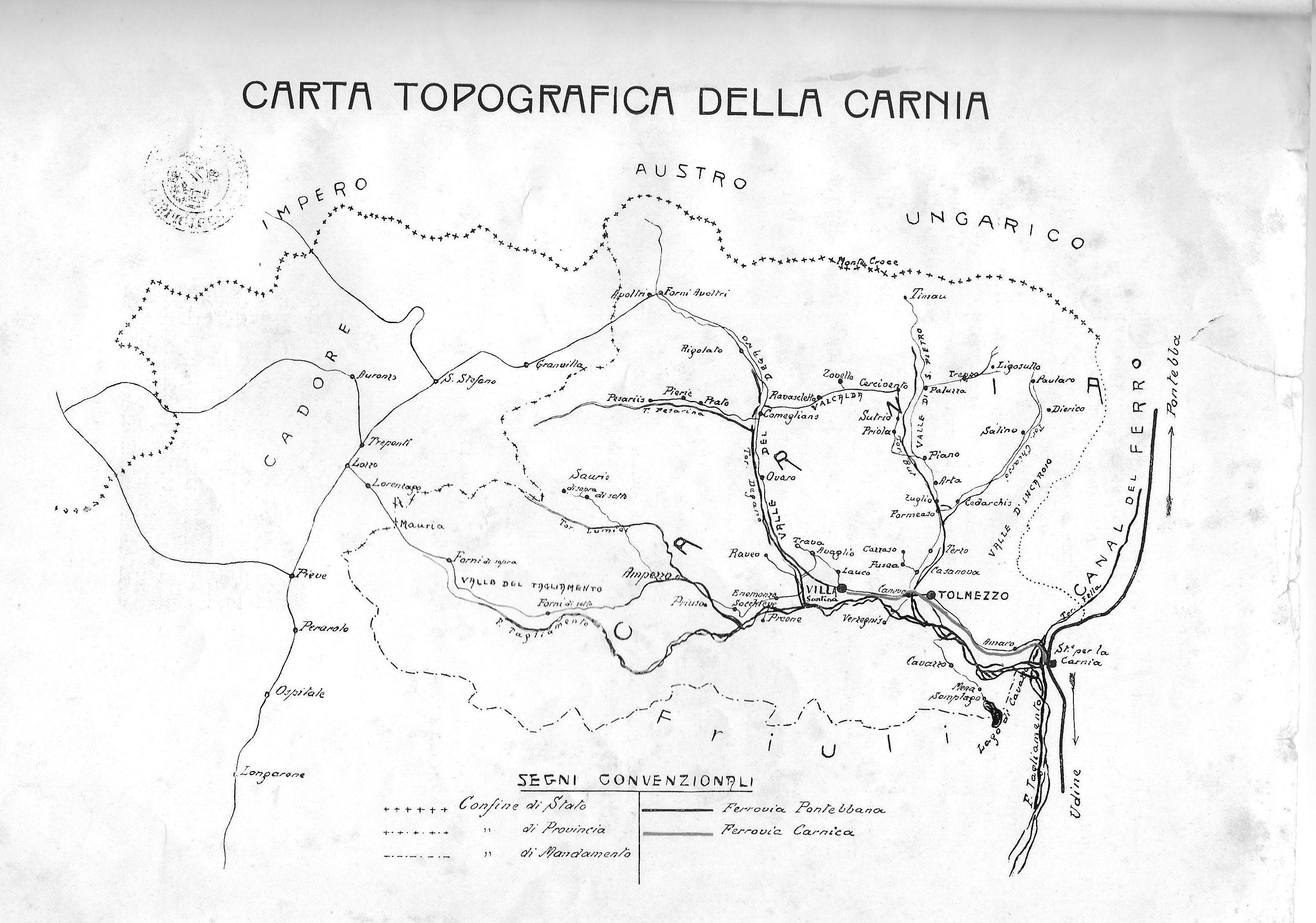 Mappa ferroviaria della Carnia