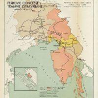 Mappa ferrovie e tranvie in Friuli Venezia Giulia – 1936